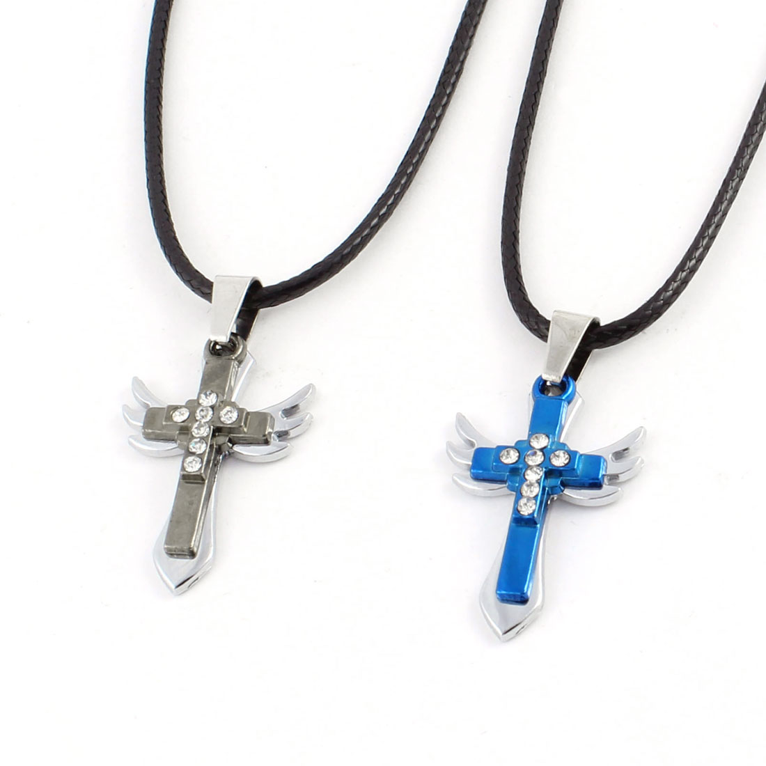 Couples Gray Blue Metal Rhinestone Inlaid Wing Sword Cross Decor Necklace