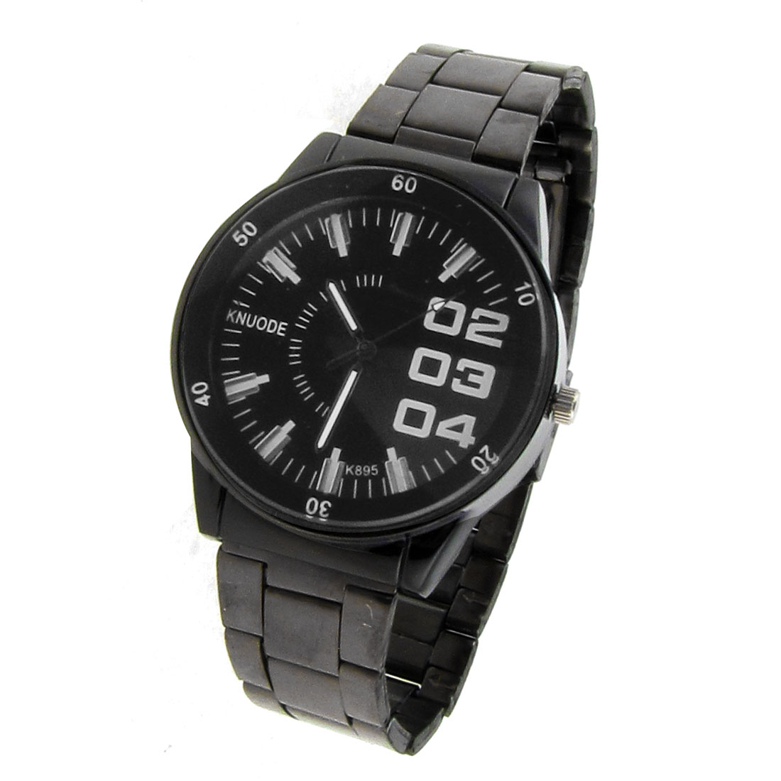 Man Black Metal Watchband Arabic Number Display Dial Round Case Wrist Watch