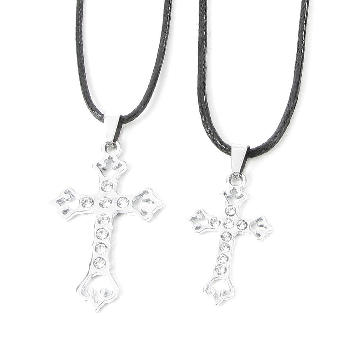 "Fashion Lover 17"" Girth Rhinestone Decor Cross Shaped Pendant Necklaces"
