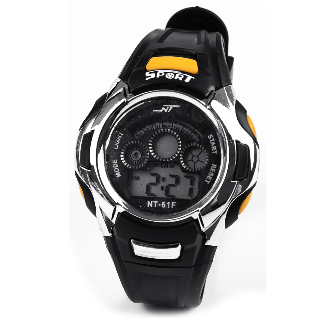 Digital Display Water Resistant Black Adjustable Band Sports Wrist Watch Stopwatch