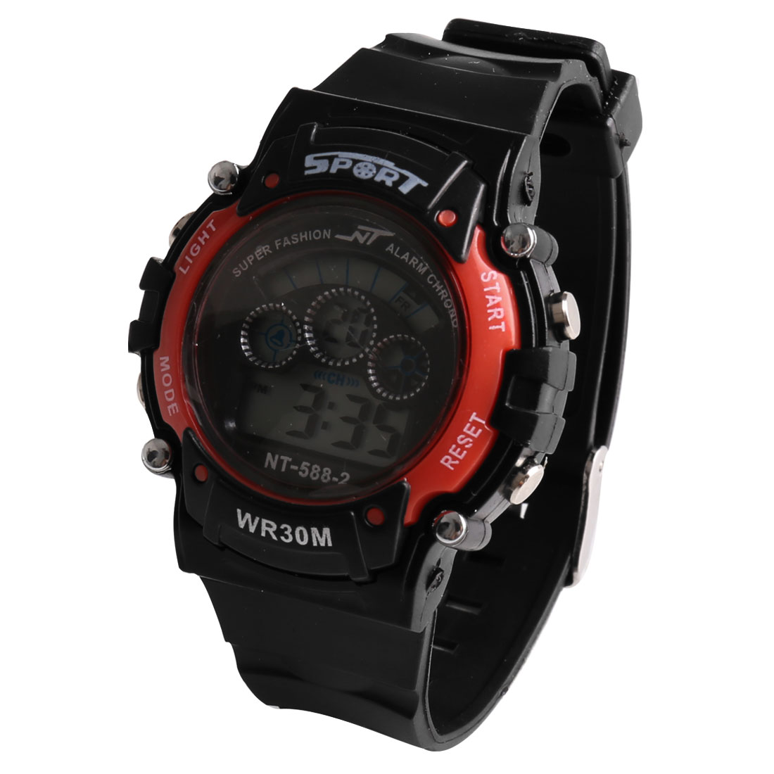 Black Red Plastic Adjustable Band LCD Digital Alarm Water Resistant Sports Watch