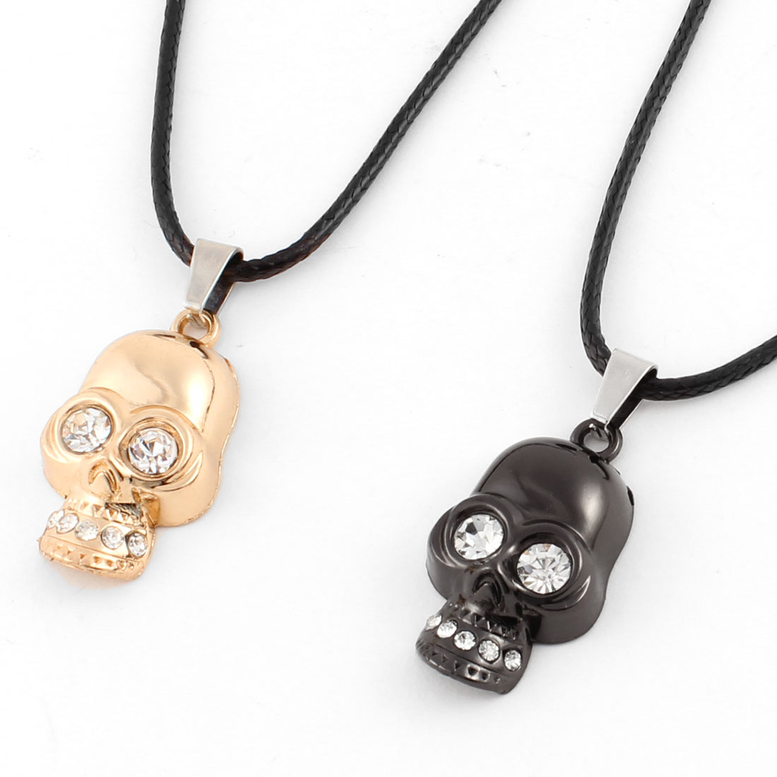 Couples Black Gold Tone Metal Rhinestone Inlaid Skull Decor Necklace