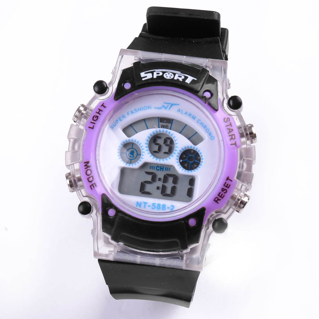 Black Purple Adjustable Band Water Resistant LCD Digital Alarm Sports Watch