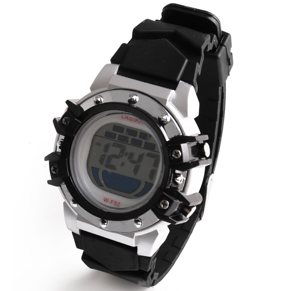 Water Resistant Black Plastic Band LCD Digital Colorful Lights Sports Watch