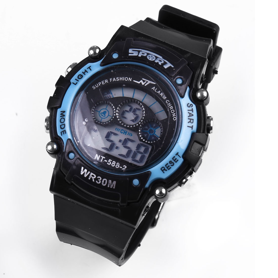 Black Blue Plastic Adjustable Band LCD Digital Alarm Water Resistance Sports Watch
