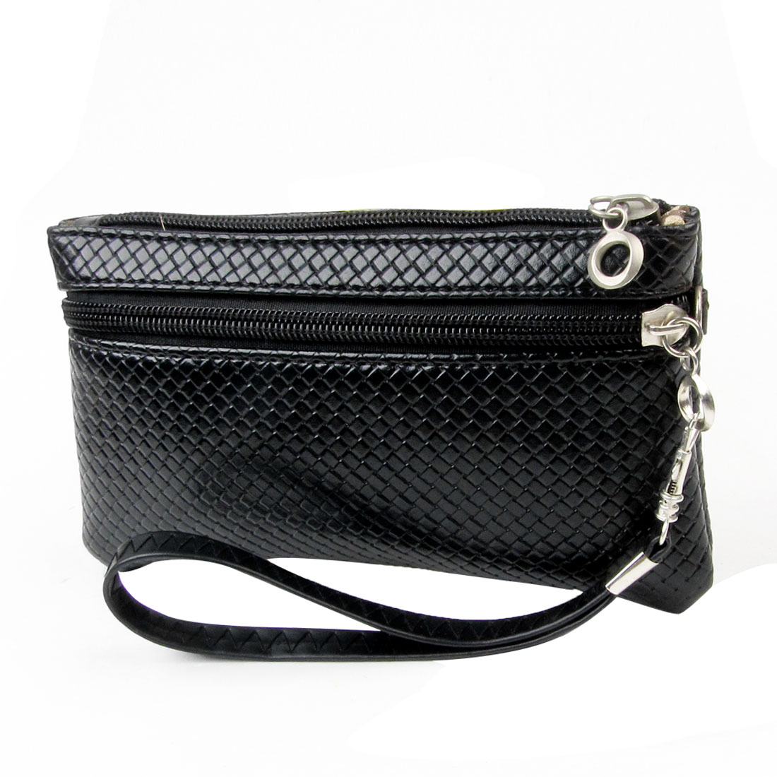 Woman Black Faux Leather Rhombus Pattern Zipper Closure Purse w Strap