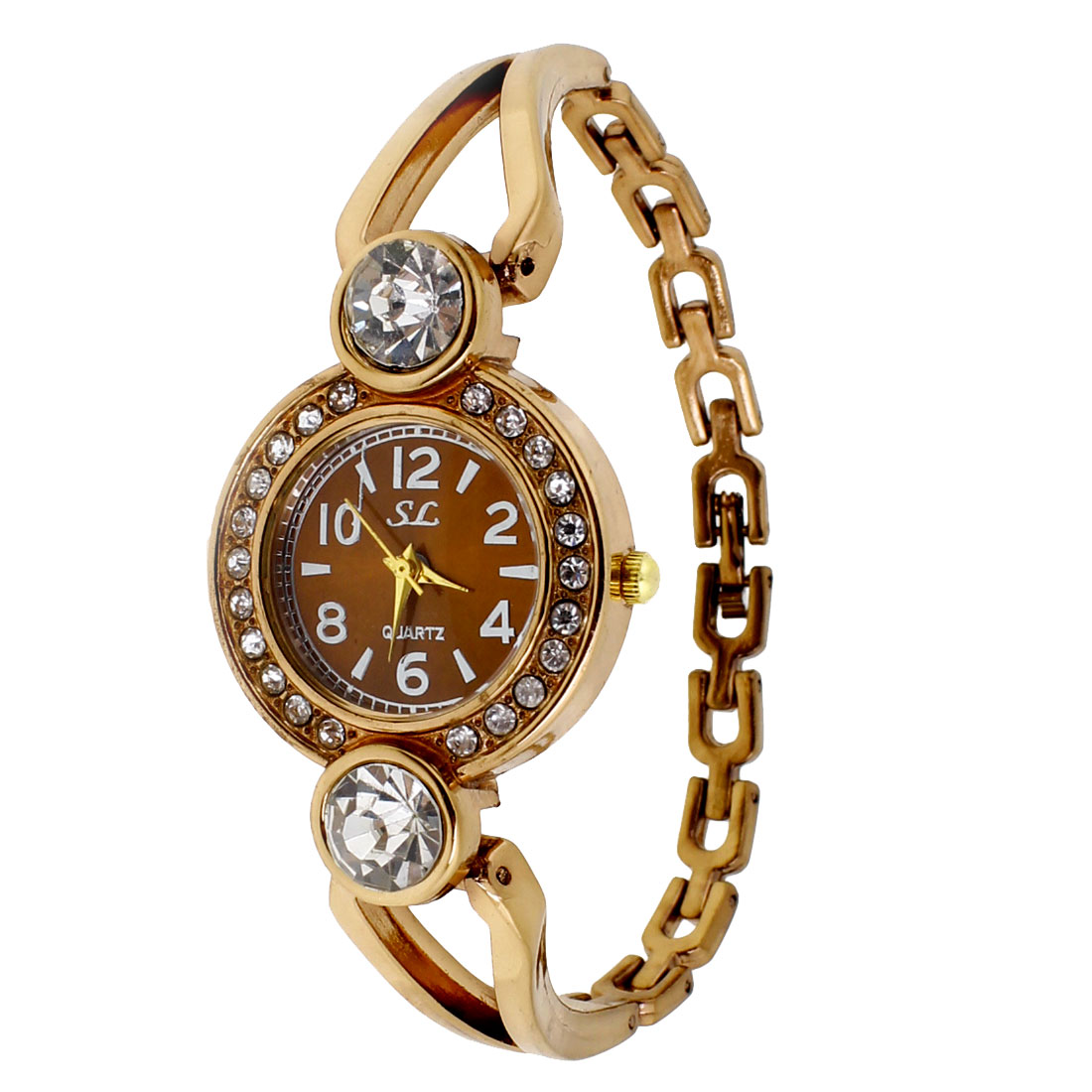 Woman Copper Tone Rhinestone Inlaid Round Dial Metal Band Wrist Watch