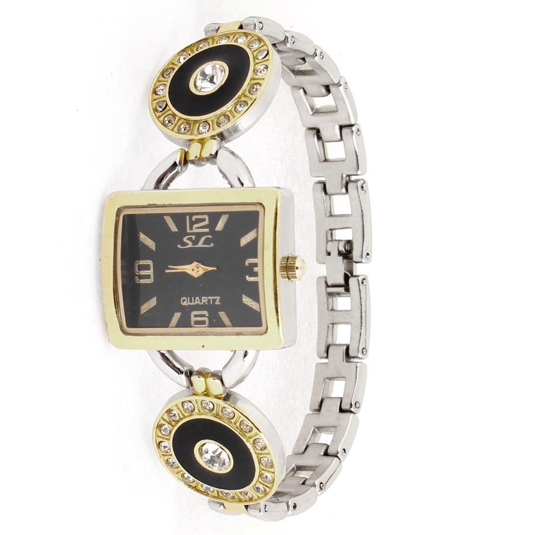 Woman Gold Tone Rectangle Rhinestone Black Dial Quartz Wrist Watch Ornament