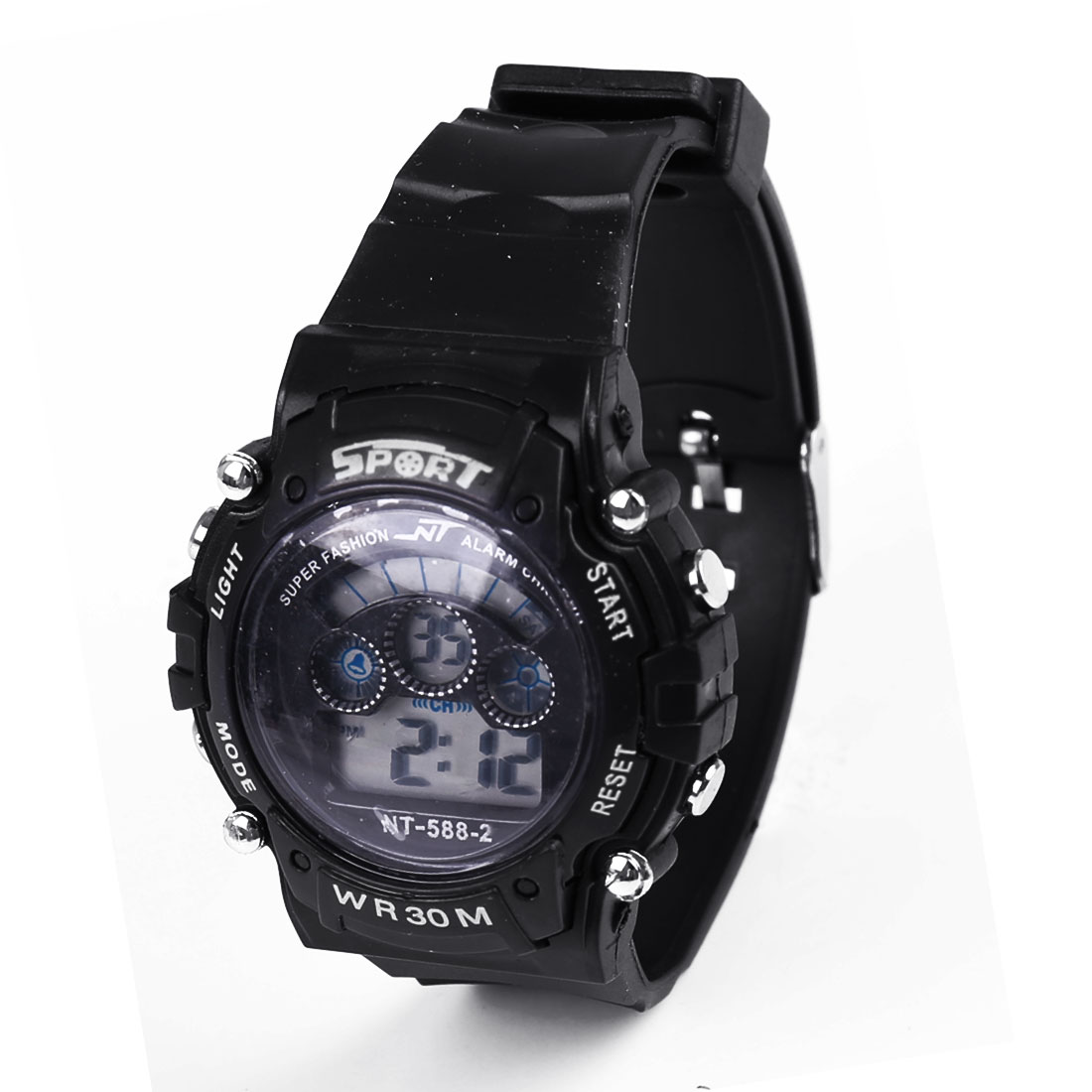 Black Plastic Adjustable Band Water Resistance Digital Sports Wrist Watch