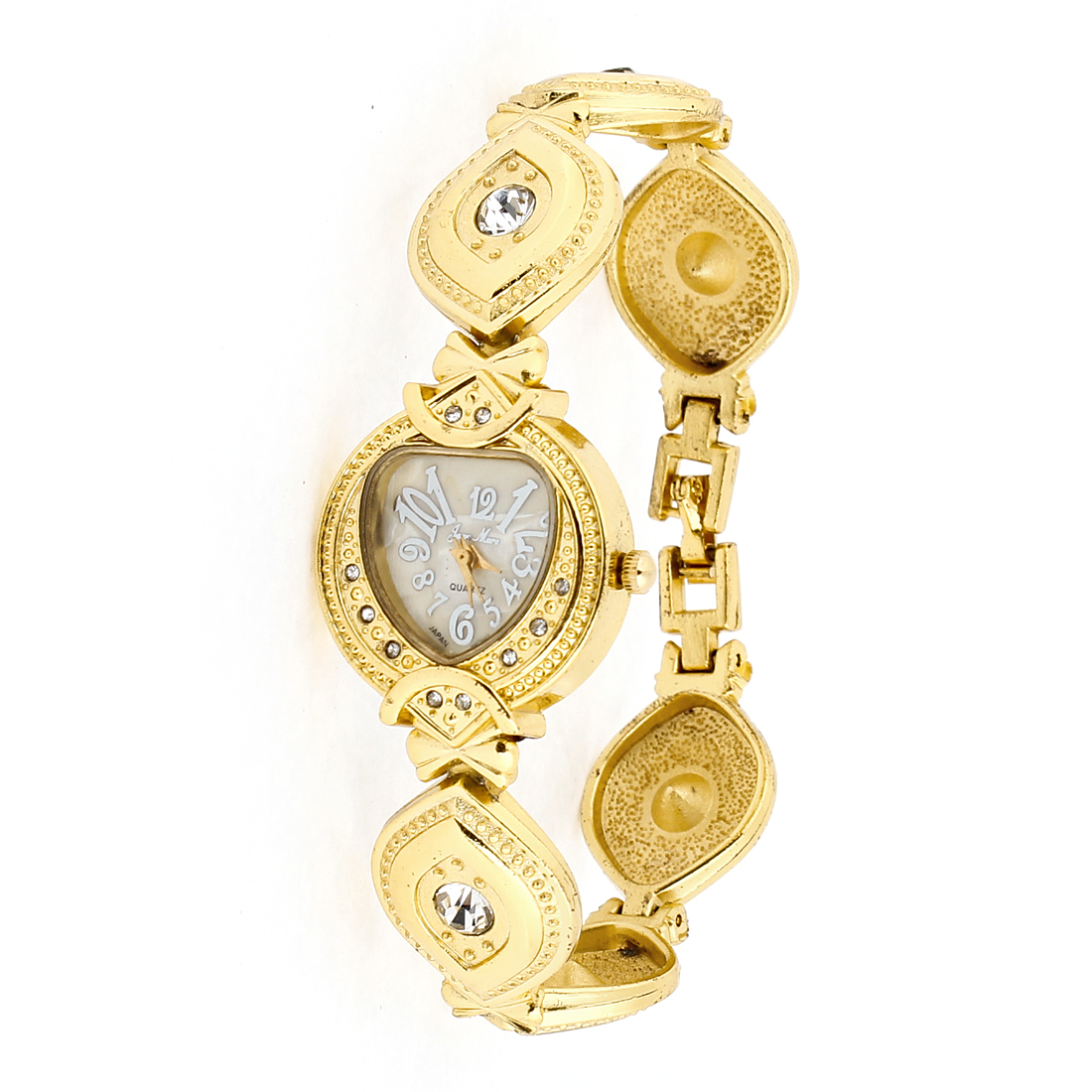 Woman Gold Tone Rhinestone Peacock Feathers Wristband White Dial Wrist Watch