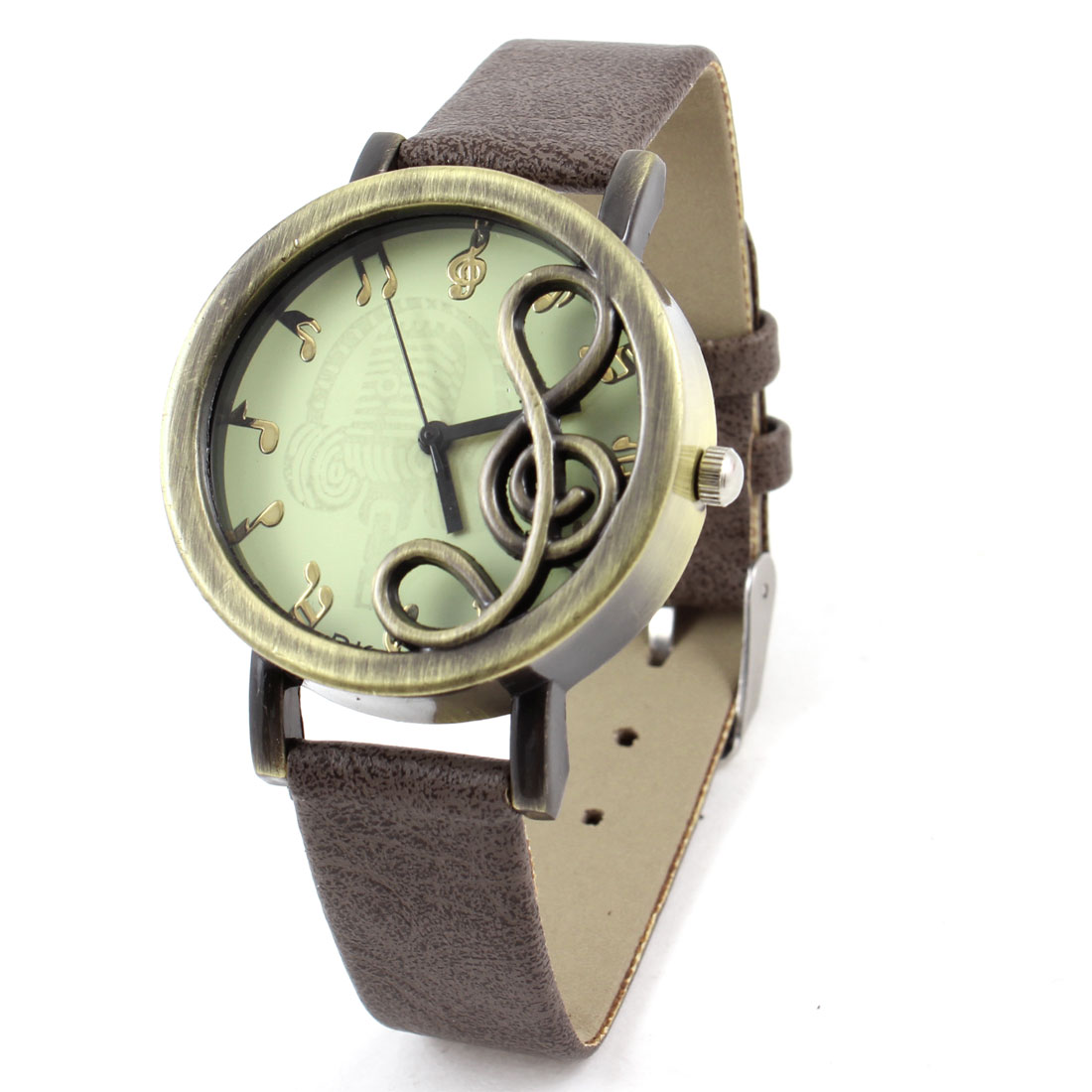 Woman Coffee Color Faux Leather Band Bronze Tone Musical Note Decor Round Dial Watch