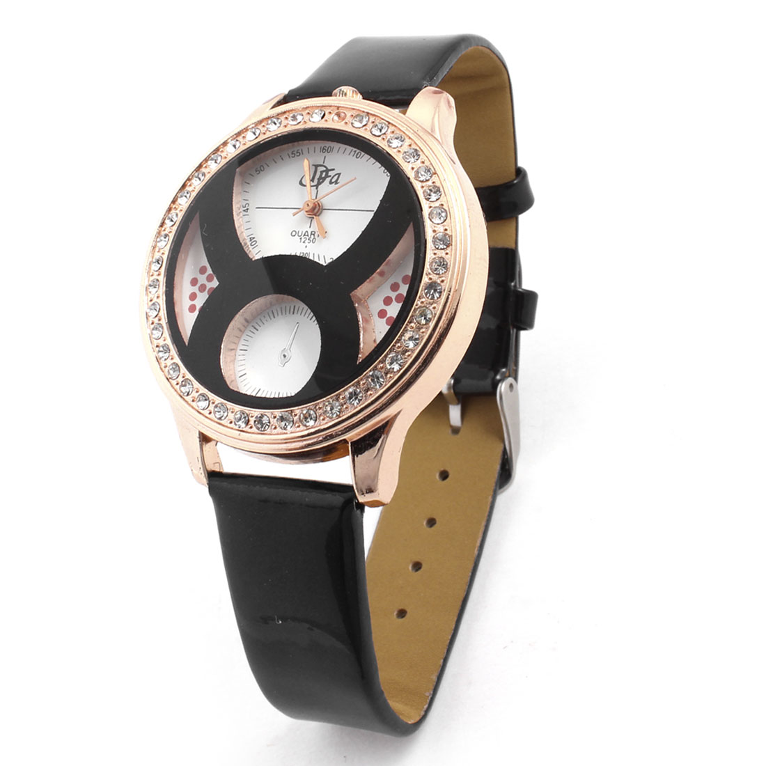 Women Black Faux Leather Band Rhinestone Inlaid Gold Tone Round Dial Watch
