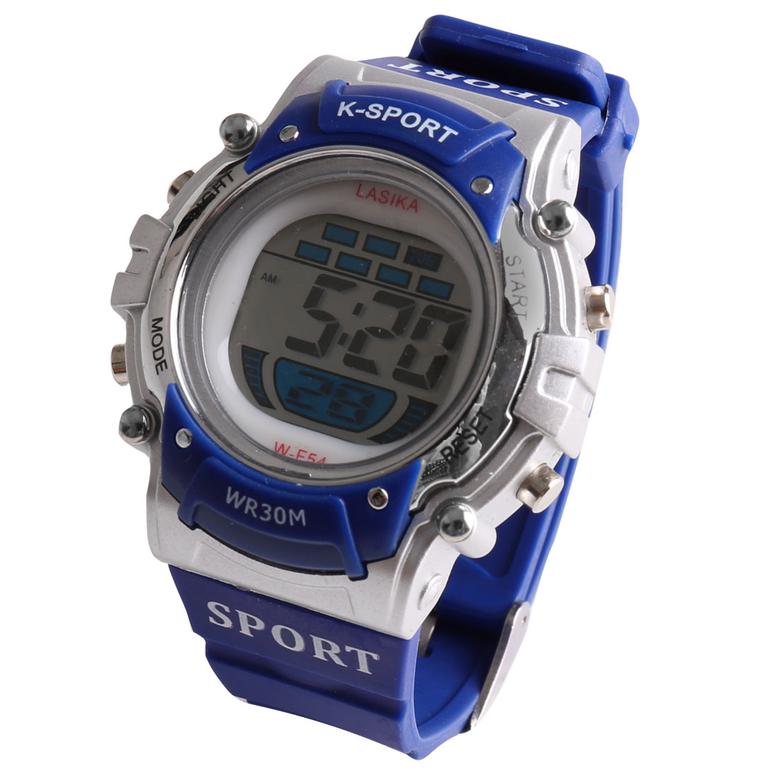 Water Resistant Pin Buckle LCD Colorful Lights Digital Sports Watch stopwatch