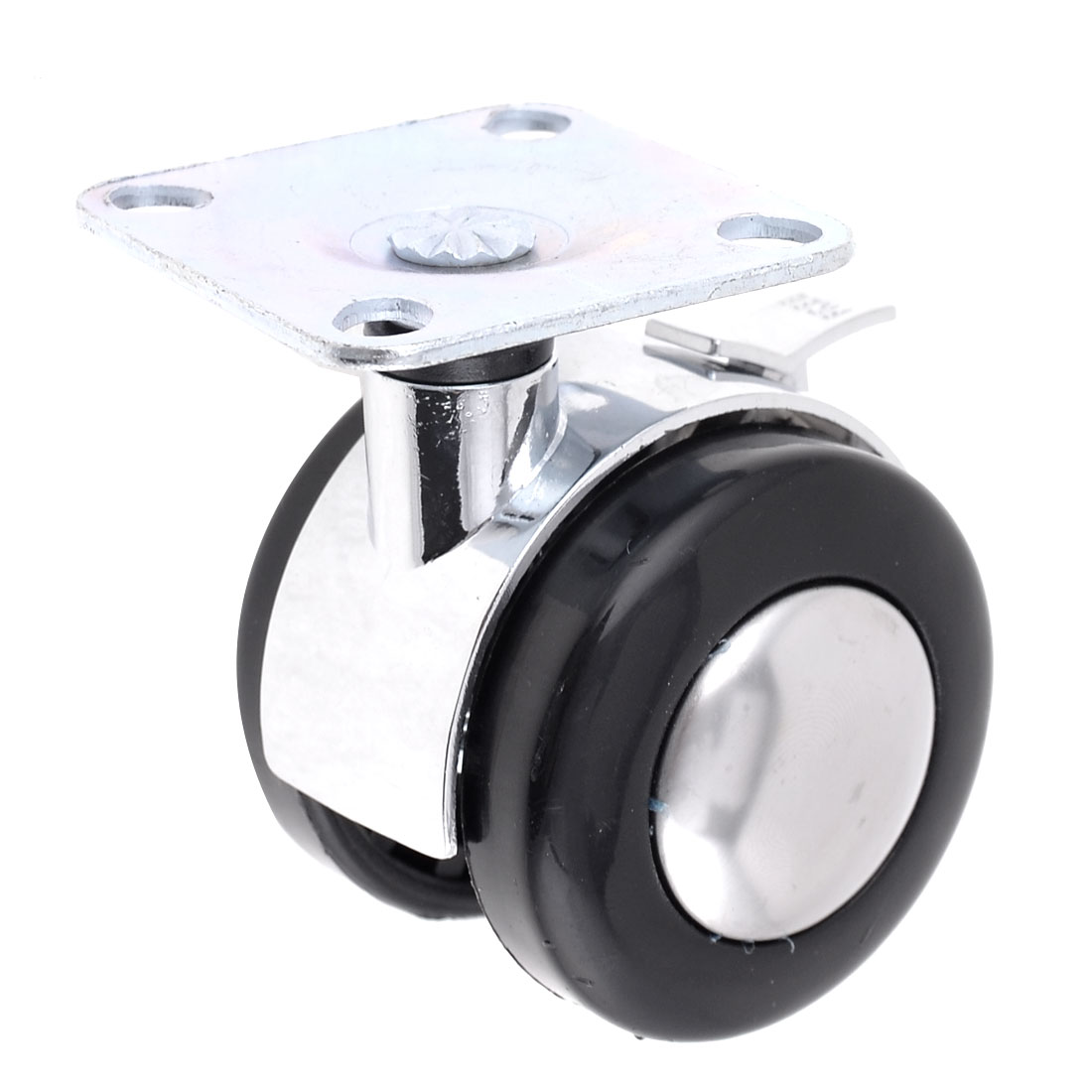 "Furniture 2"" Dia Double Plastic Wheel Plate Mount Swivel Caster"