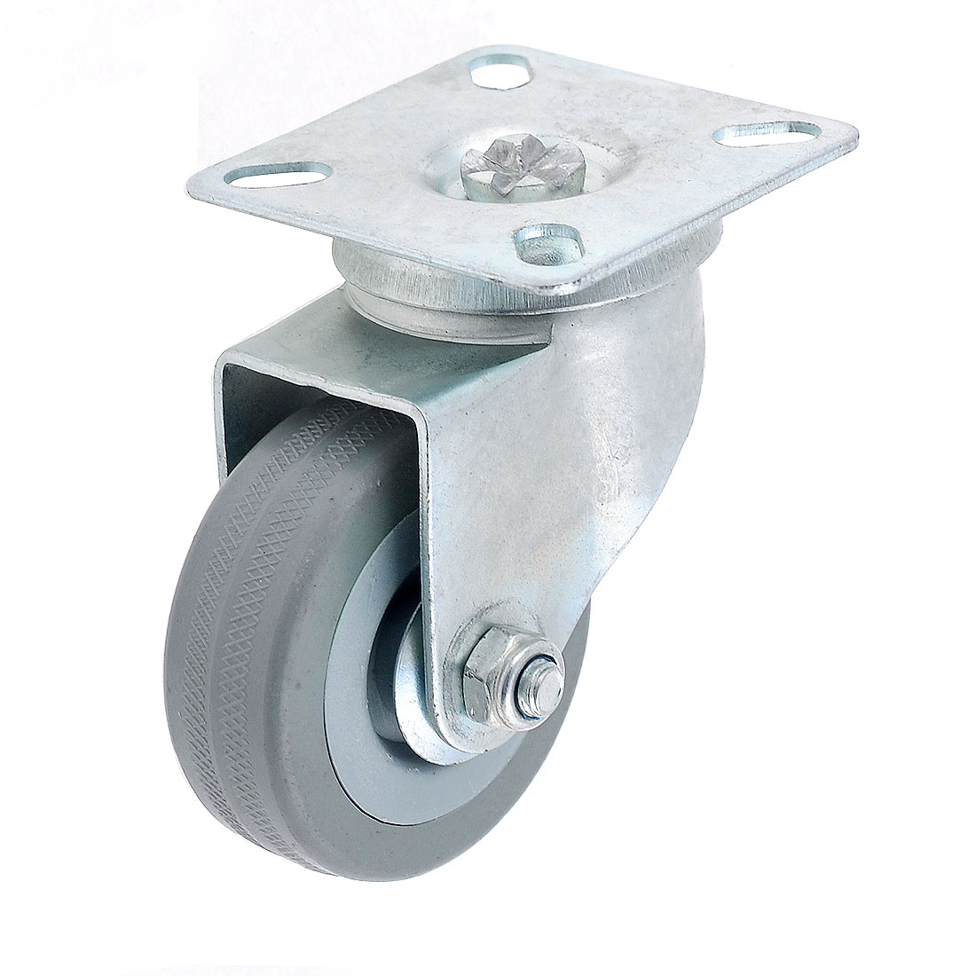 "2"" Single Wheel Swivel Rectangle Plate Plastic Caster Gray"