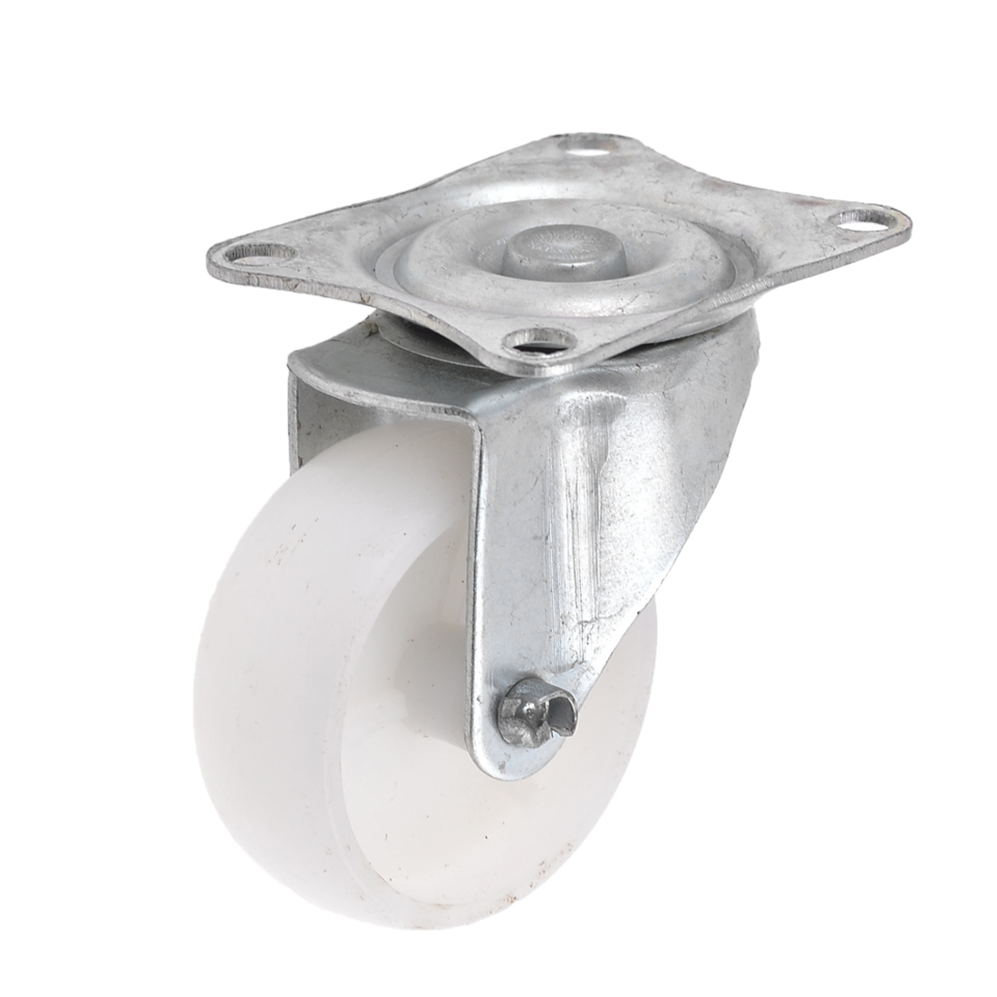 "White 1.9"" Single Wheel Light Duty Swivel Plate Plastic Caster"