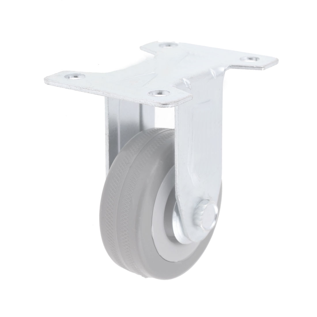 "2"" Dia Single Wheel Swivel Rectangle Plate Plastic Caster Gray"