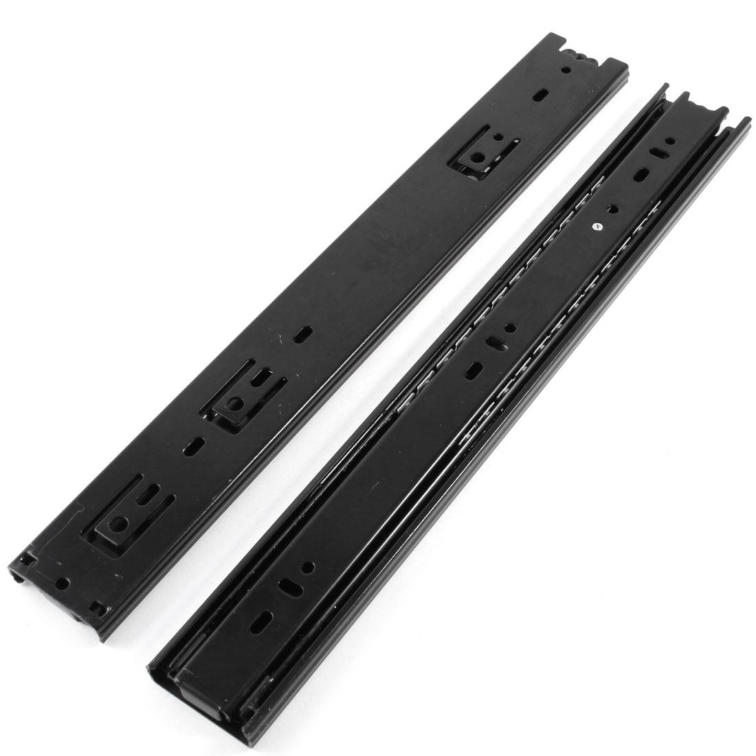 "2 x Black 3 Sections Extending Drawer Slides Rail 33mm Width 11.2"" Length"