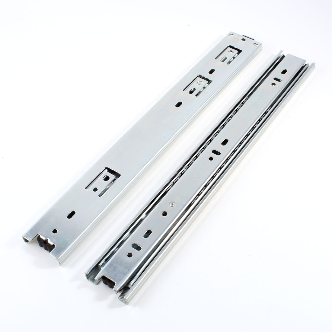 "2 Pcs Silver Tone 3 Sections Extended Drawer Slides Rail 45mm Wide 13.7"" Long"