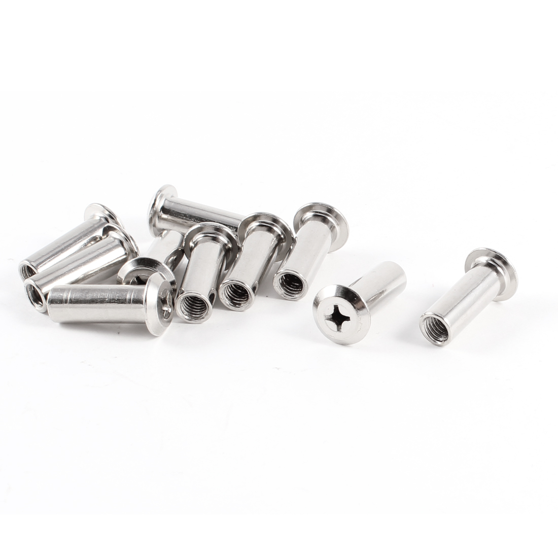 Furniture Silver Tone Metal Thread Support Nut Inserts 10 Pcs