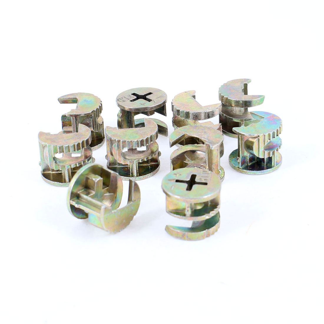 "10 Pcs Cross Head 0.6"" Diameter Copper Tone Metal Cabinet Connect Cam Fittings"