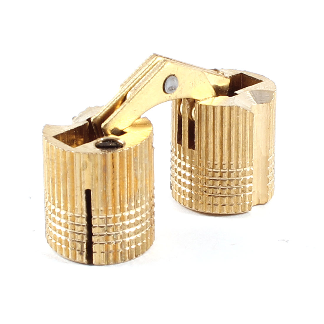 Cylinder Gold Tone Sliding Folding Door Furniture Hinge 32mm Hight