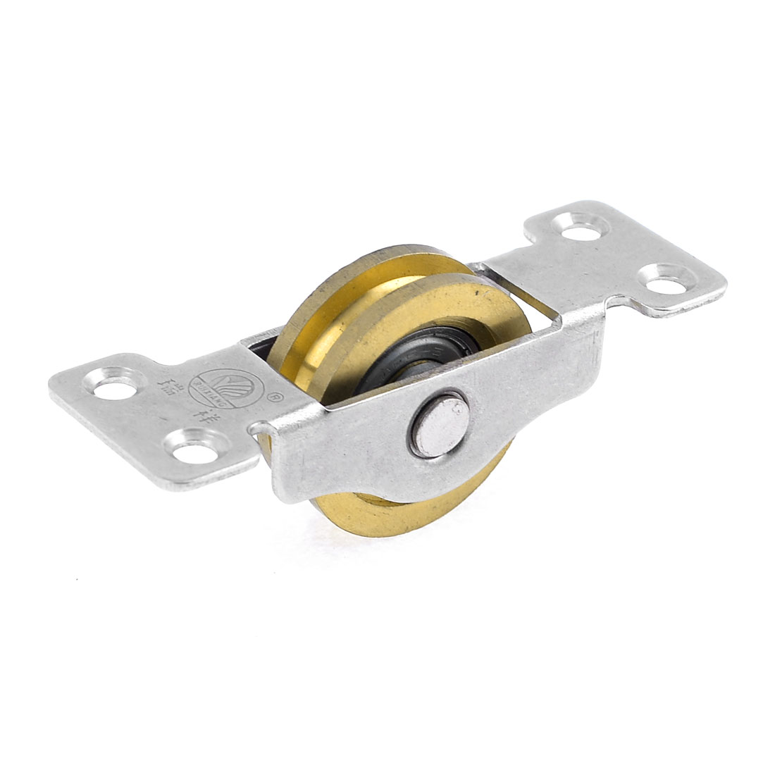 "Gold Tone 1.4"" Dia Single Roller Double Bearing Window Pulley"