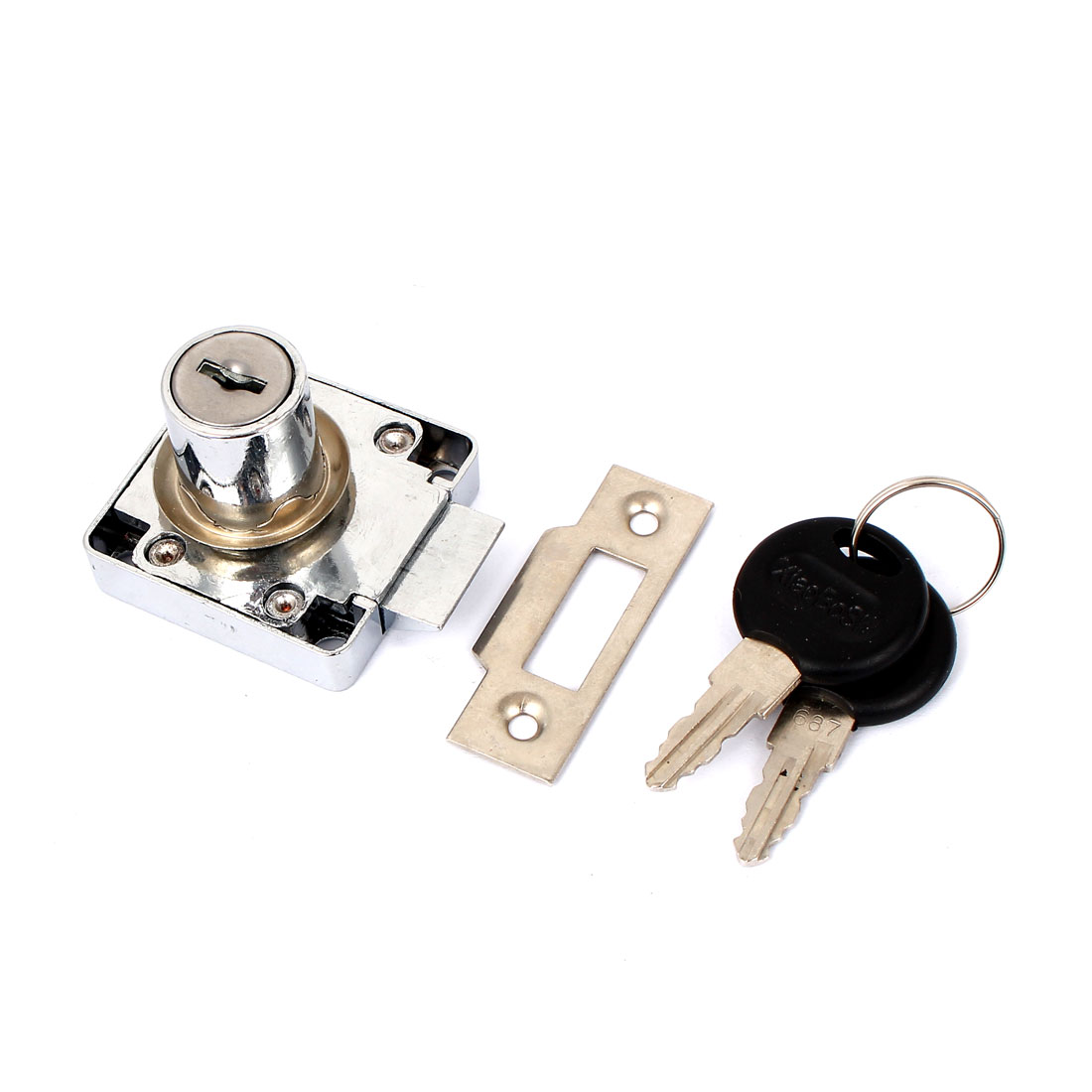 Drawer Cupboard Metal Deadbolt Square Locking Lock with 2 Keys