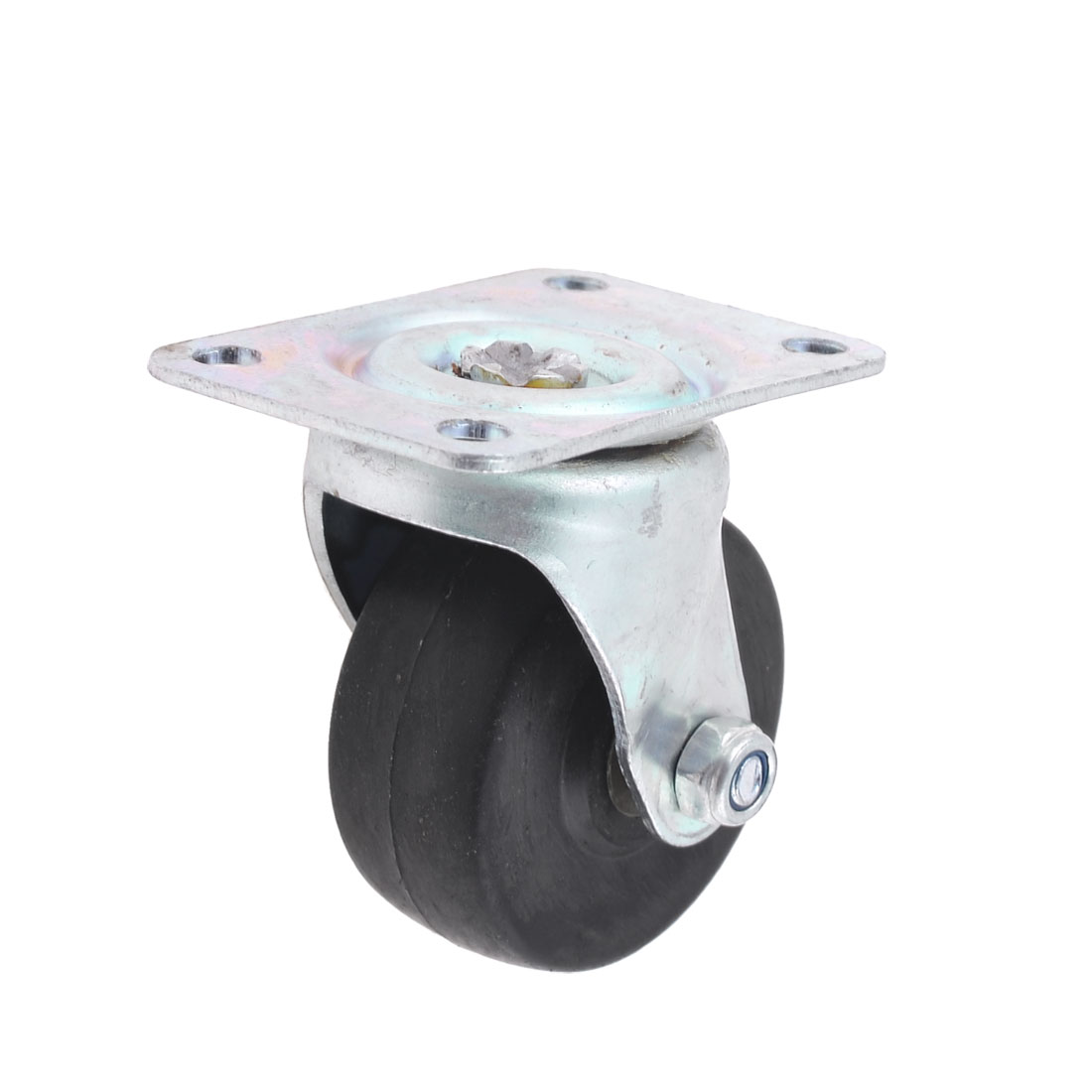 Plastic Metal Flat Plate 50mm Fixed Type Rigid Caster Wheel Black