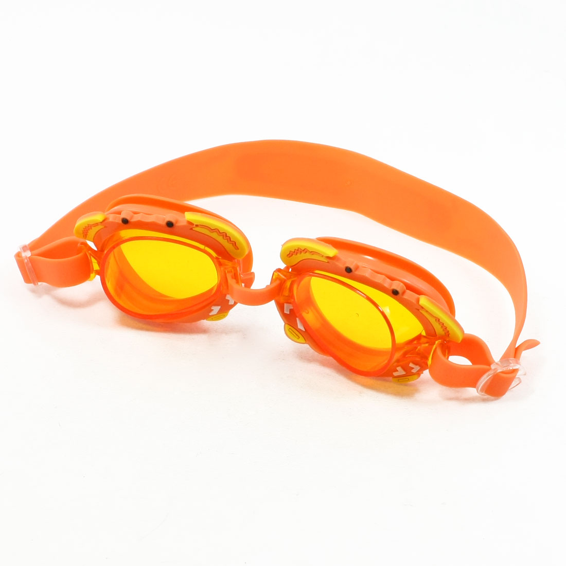 Adjustable Strap Frog Shaped Swimming Goggles Orange for Kid