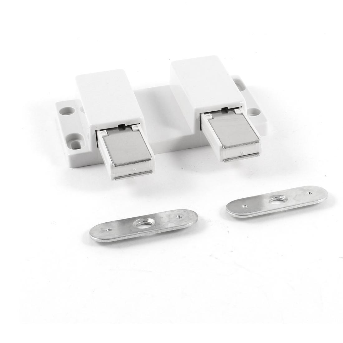 Cupboard Cabinet Door Square Double Head Magnetic Catch Latch White