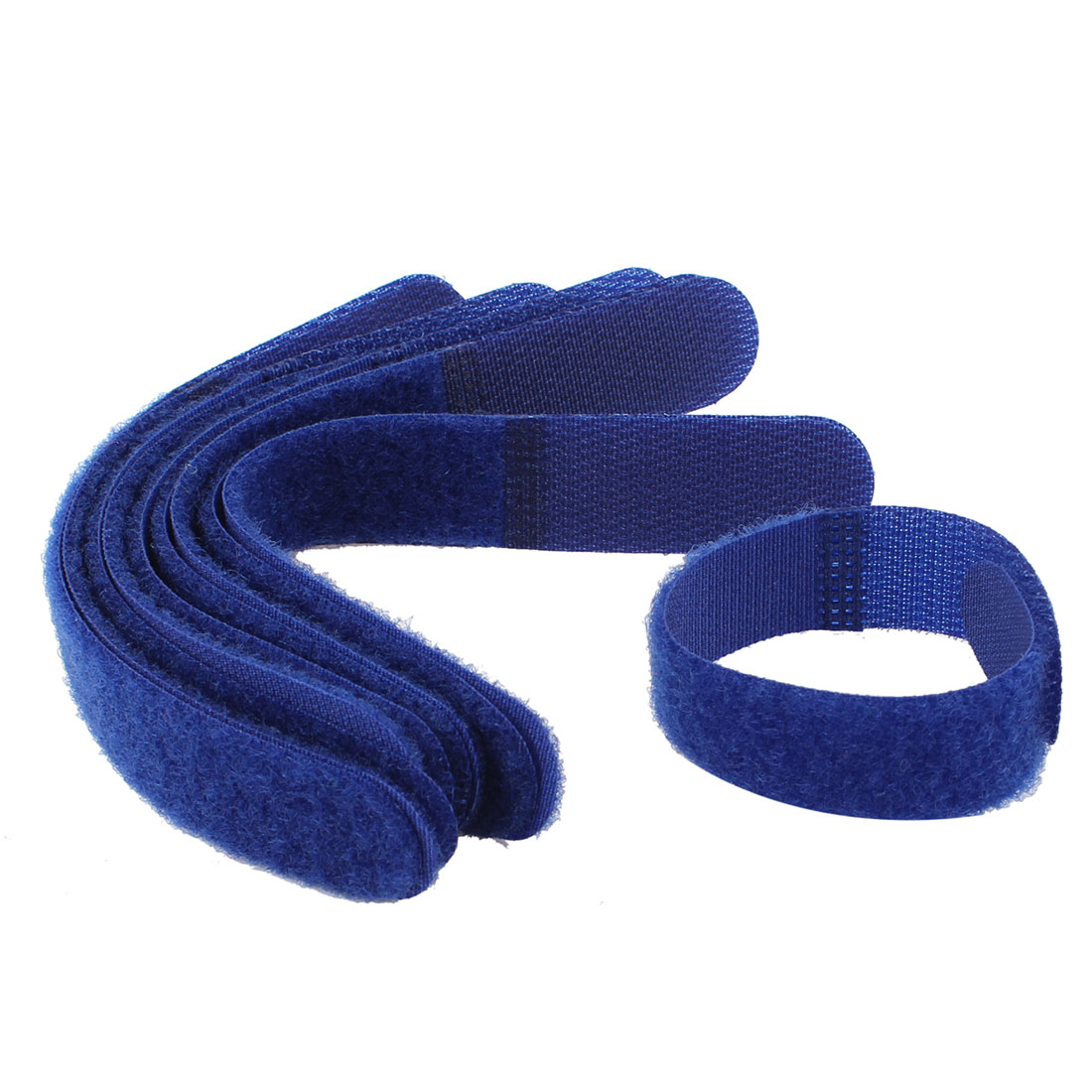 10 Pcs Detachable Fastener Hook Loop Tie Strap Cable Organizer Blue