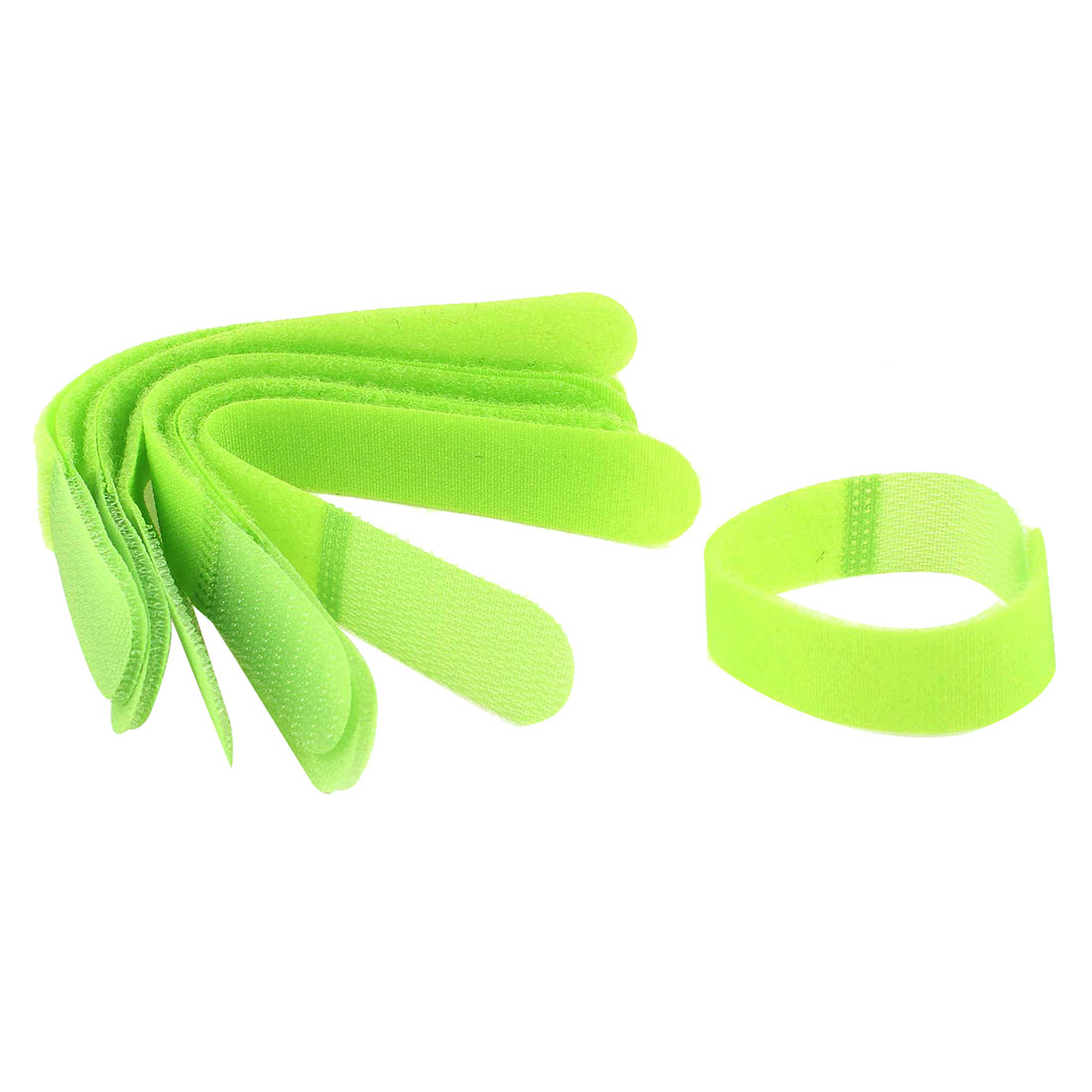 10 Pcs Detachable Fastener Hook Loop Tie Strap Cable Organizer Green