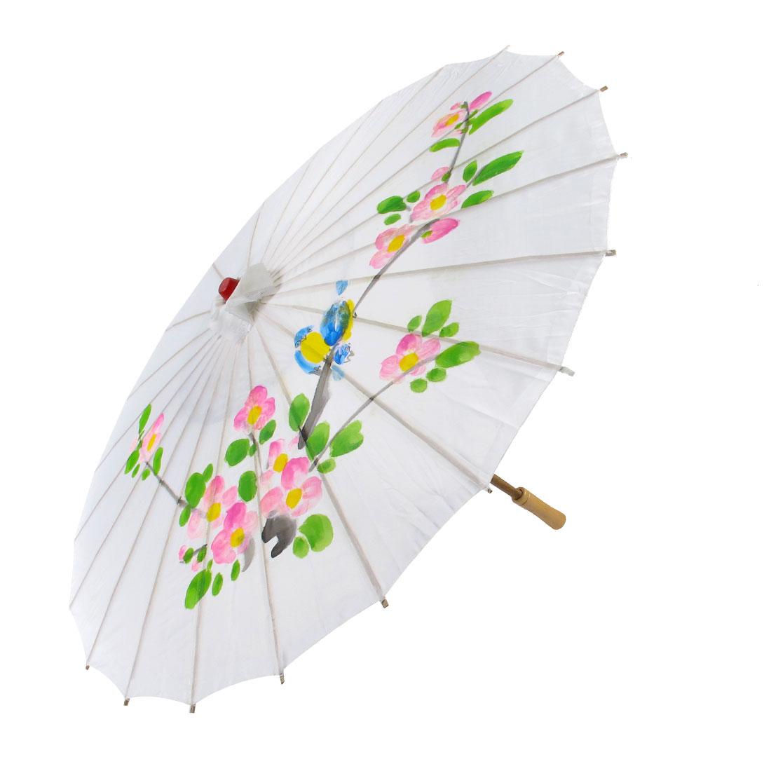 Plum Blossom Bird Pattern Bamboo Frame Handle Oriental Umbrella Parasol White