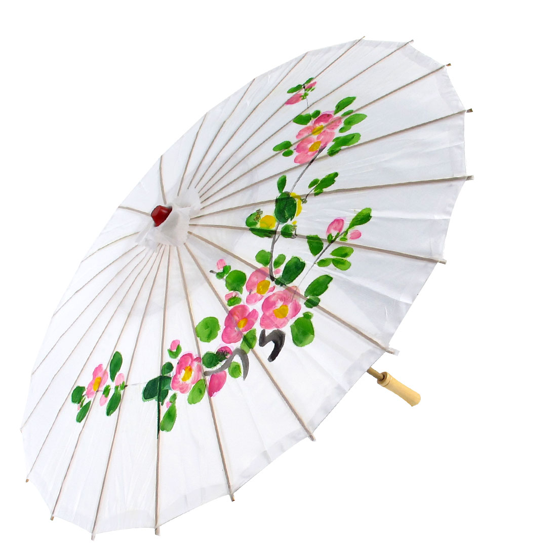 Plum Blossom Bird Printed Bamboo Frame Handle Oriental Umbrella Parasol White