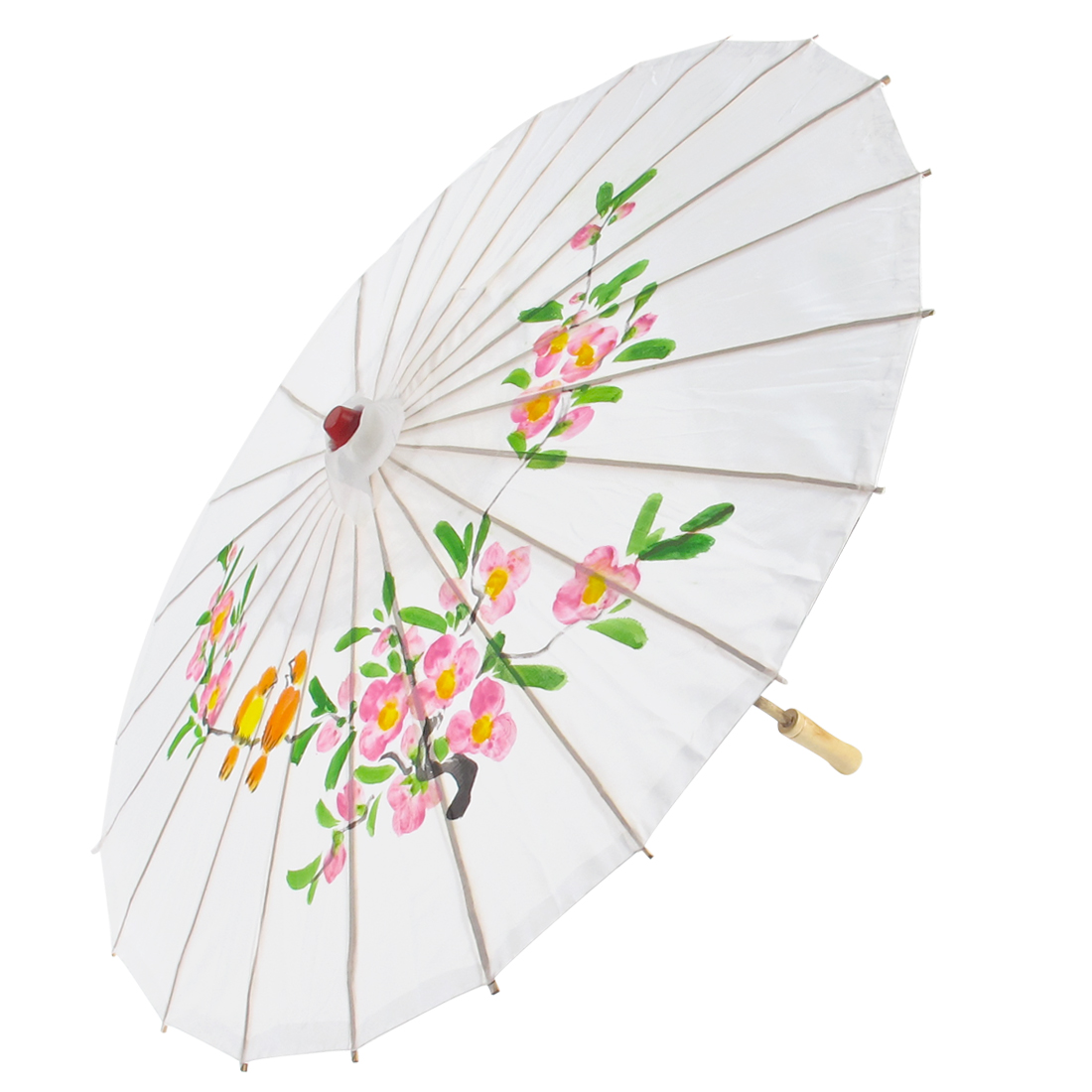 Colored Plum Blossom Orange Birds Pattern Bamboo Frame Oriental Umbrella Parasol White
