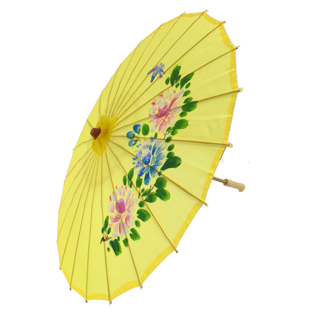 Colorful Flower Pattern Bamboo Frame Handle Oriental Umbrella Parasol Yellow