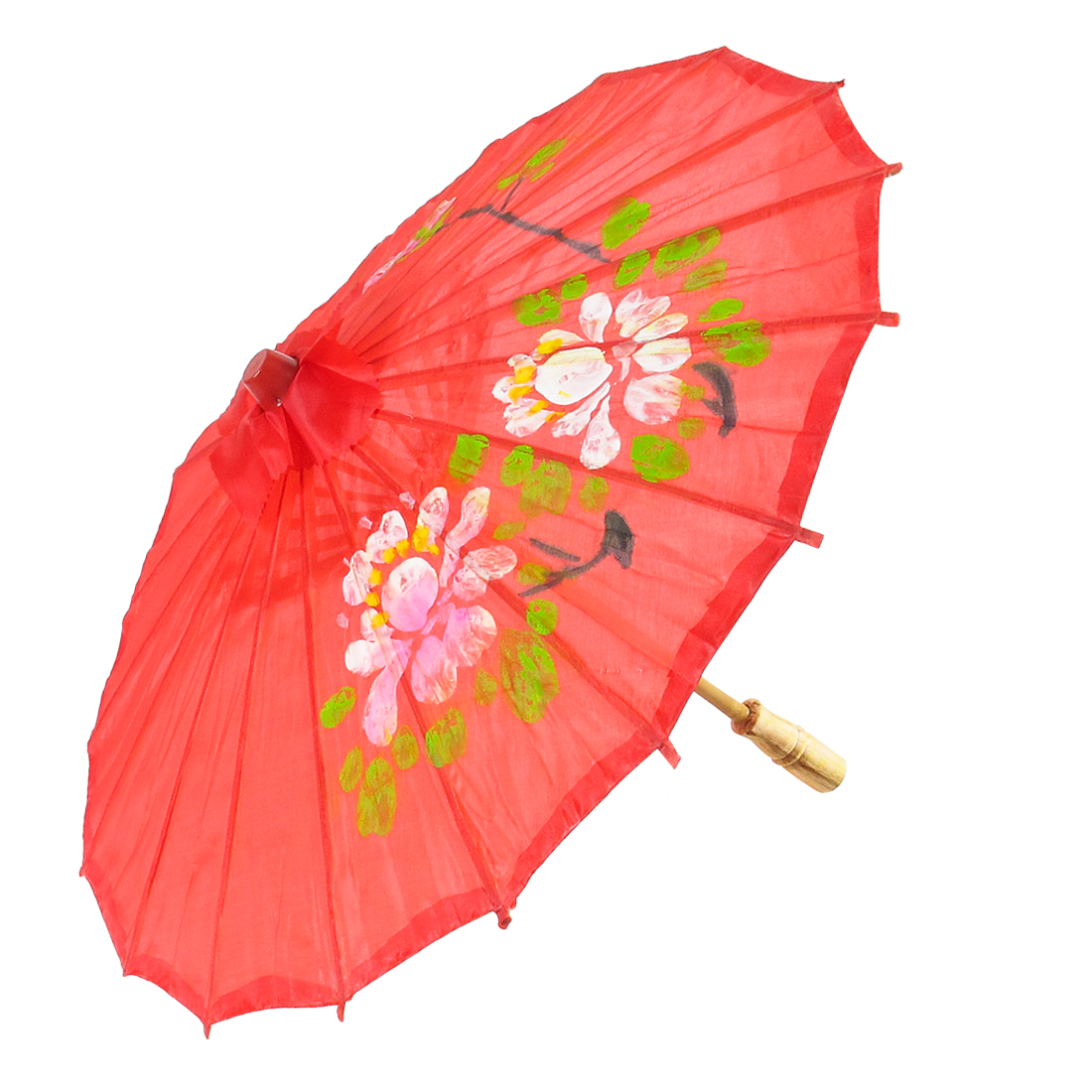 Children Colored Plum Blossom Pattern Bamboo Frame Handle Oriental Umbrella Parasol Red