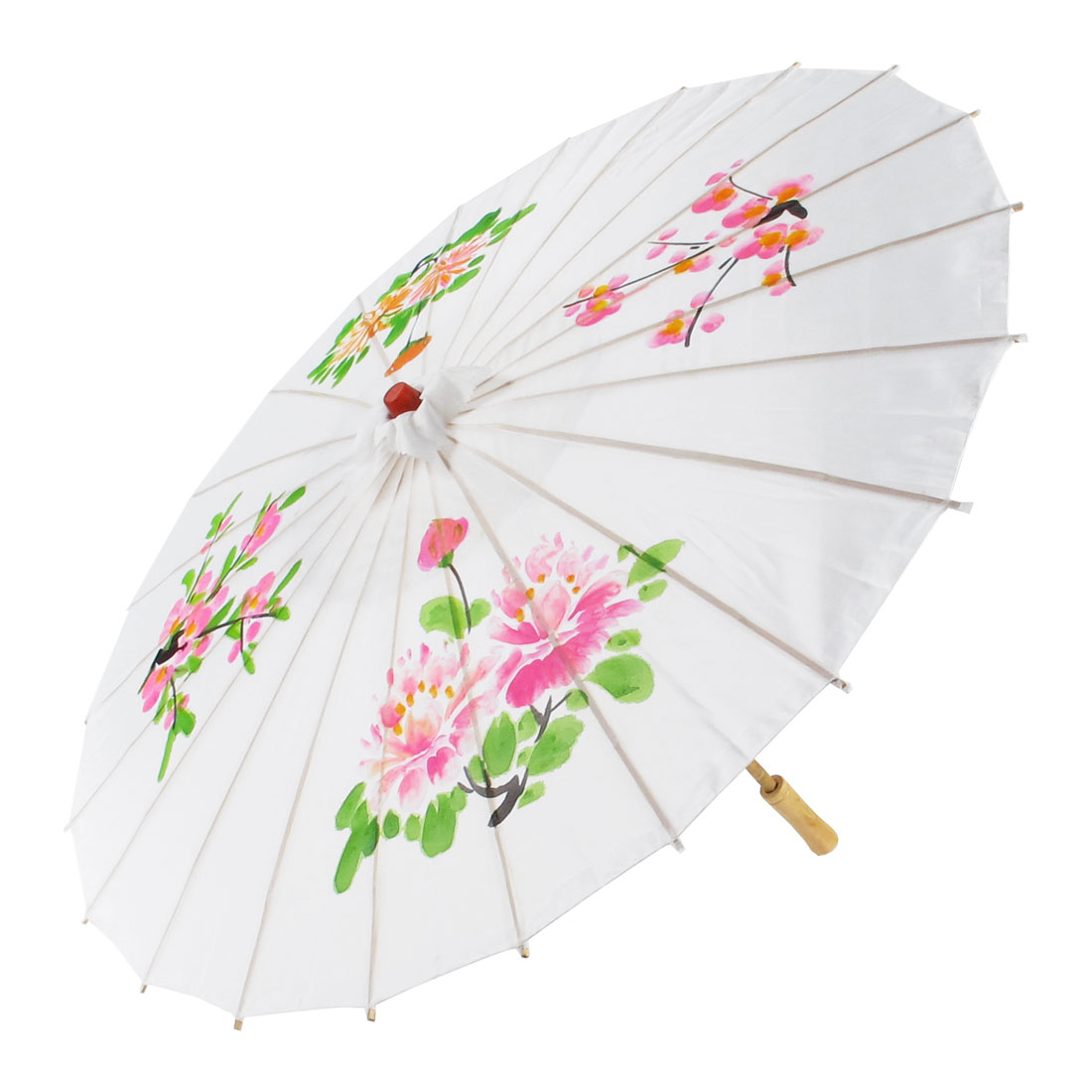 Colored Flower Printed Bamboo Frame Handle Oriental Umbrella Parasol White