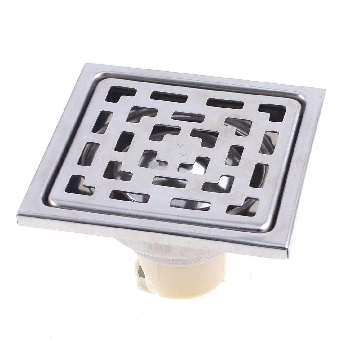 "3.3"" Dia Stainless Steel Square Shape Two Way Sink Floor Drain Silver Tone"
