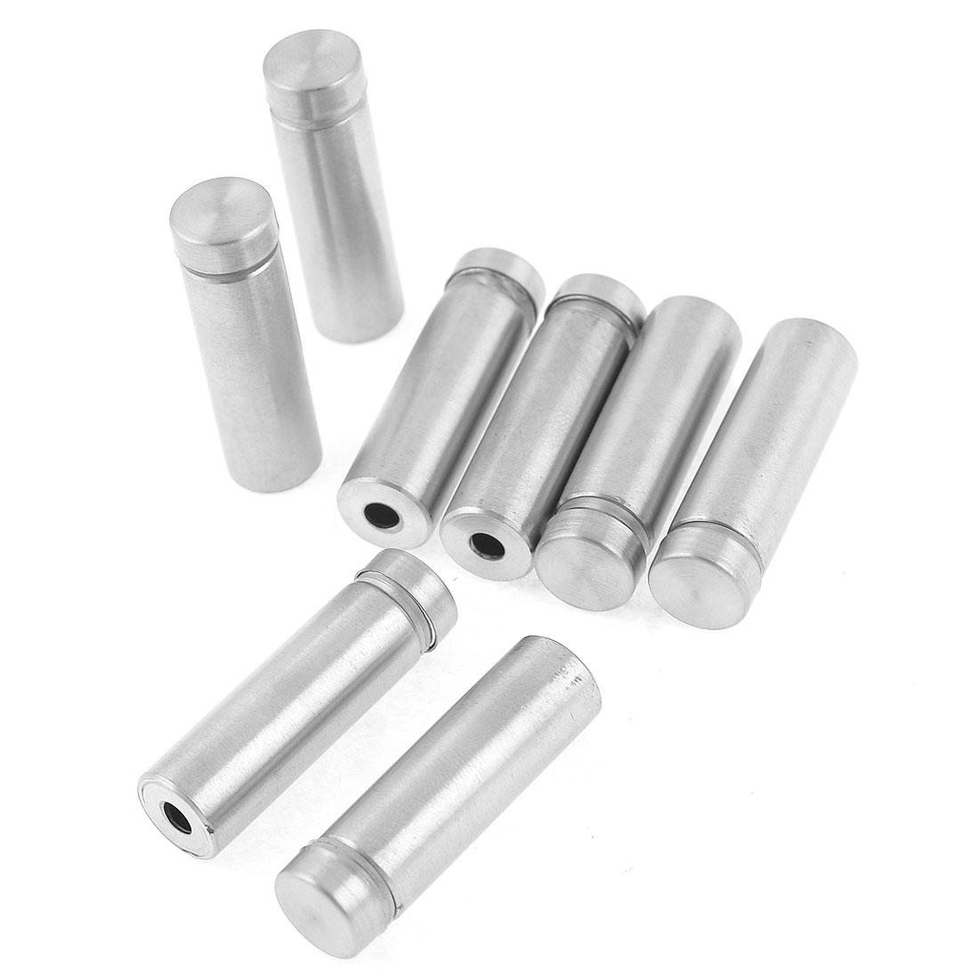 8 Pcs Silver Tone Stainless Steel 12 x 41mm Standoff Hardware for Glass