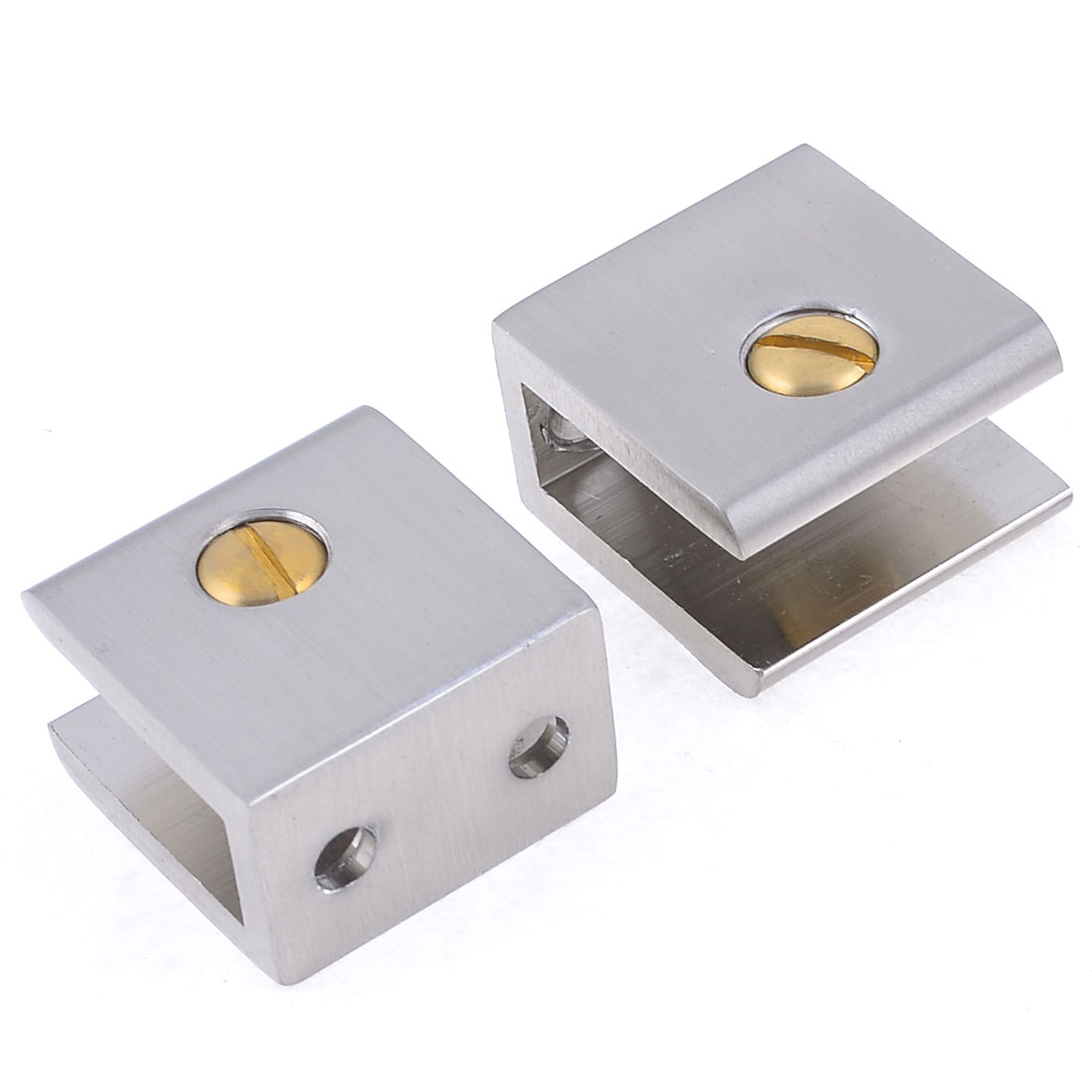 2 Pcs Silver Tone Aluminum Rectangular Clip Clamp for 11mm Thickness Glass