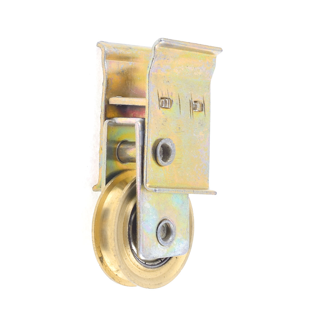 "Window Door Metal 1.3"" Dia Pulley Sliding Door Roller Gold Tone"