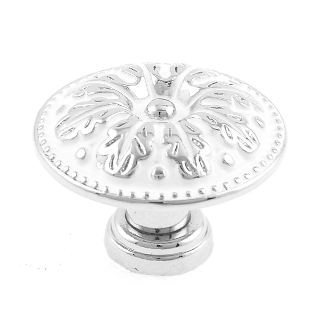 Drawer Cupboard Flower Pattern Screw Mounted Pull Handle Knobs White Silver Tone