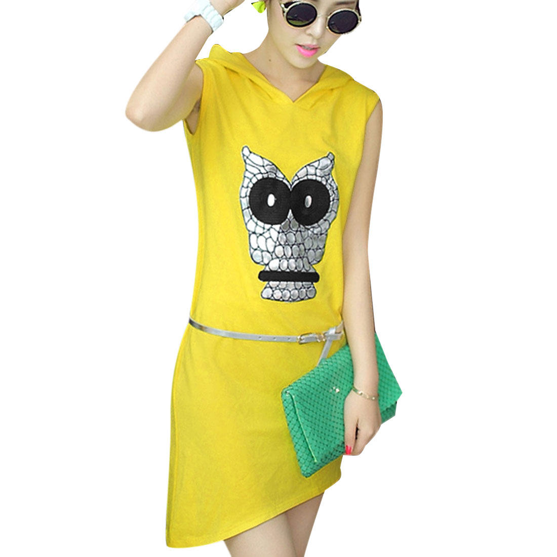 Lady Yellow Owl Prints Sleeveless Pullover W Waist Belt Hooded Dress XS
