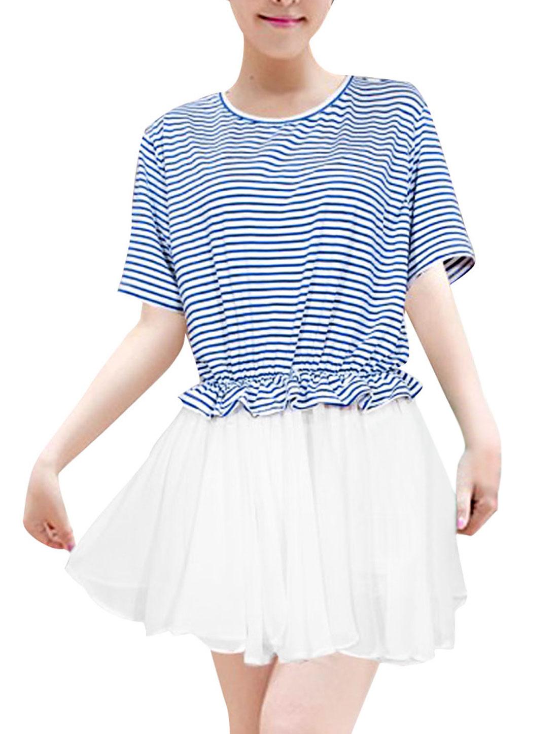 Ladies Panel Chiffon Round Neck Short Sleeve Slim Dress White Blue M