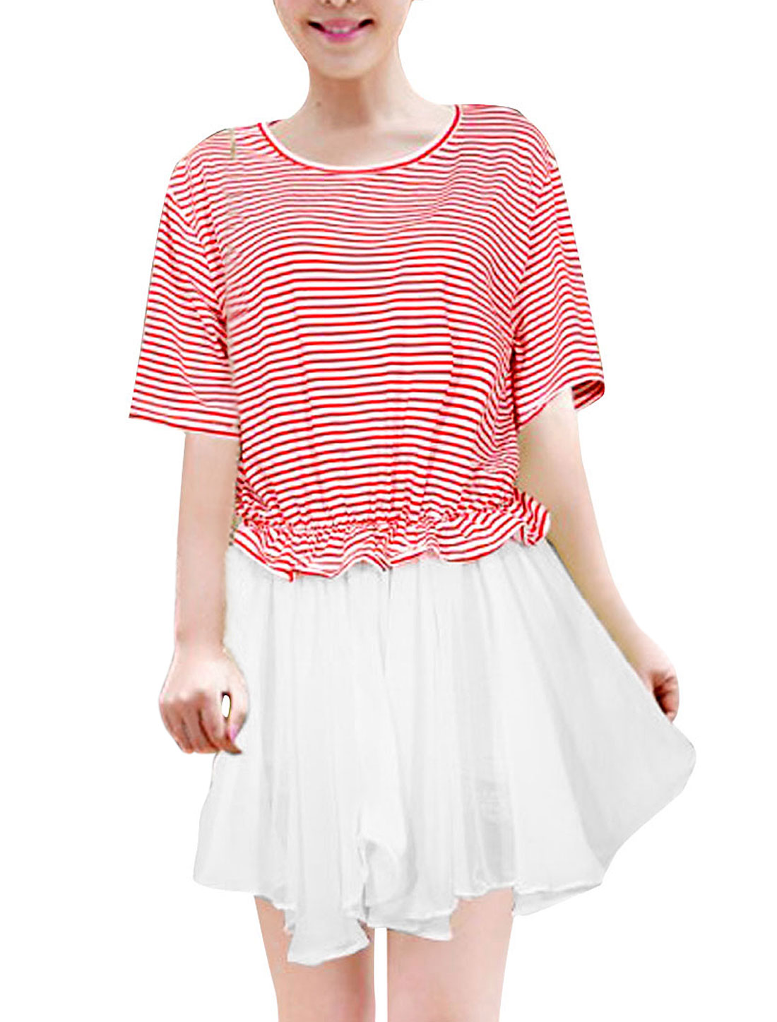 Women Above Knee Panel Striped Pattern Short-sleeved Dress White Red M