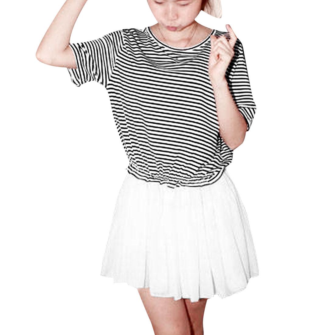 Ladies Round Neck Elastic Waist Spliced Chiffon Dress Black White M