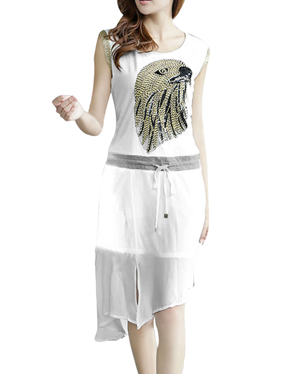 Ladies Round Neck Pullover Eagle Embellished Dress White XS