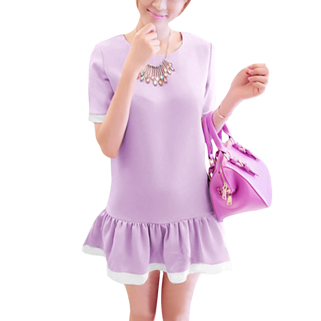 Women A Line Round Neck Chiffon Pleated Chic Dress Lavender S
